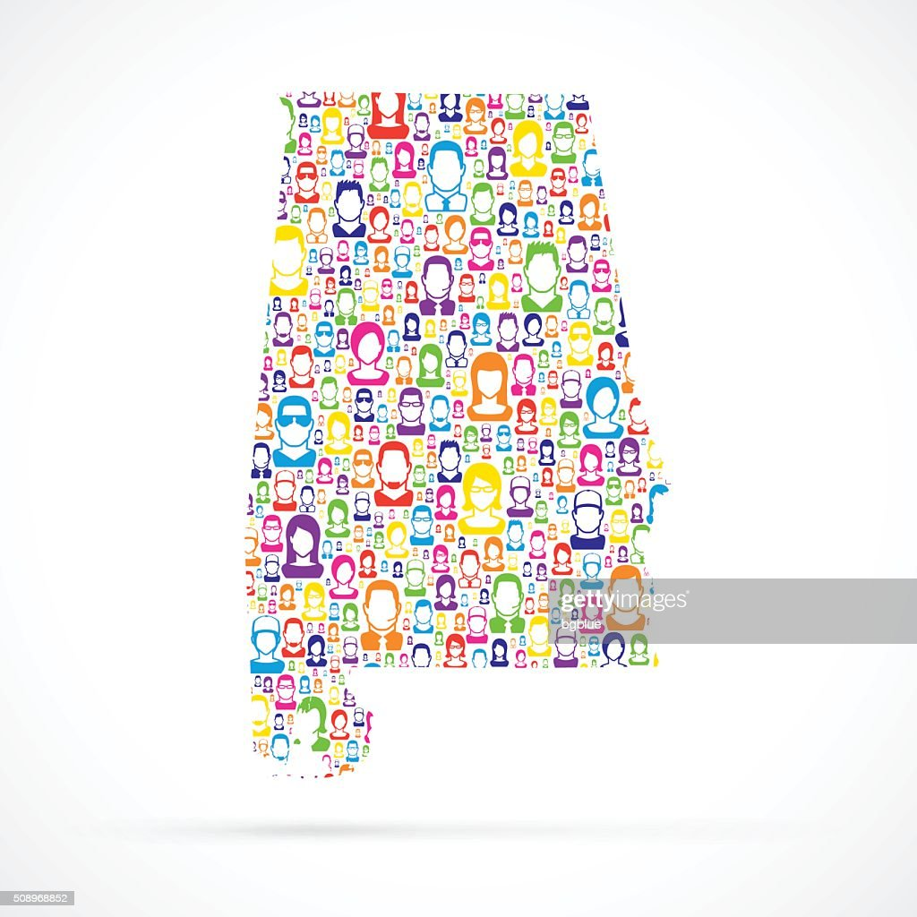 Alabama Map with People : stock illustration