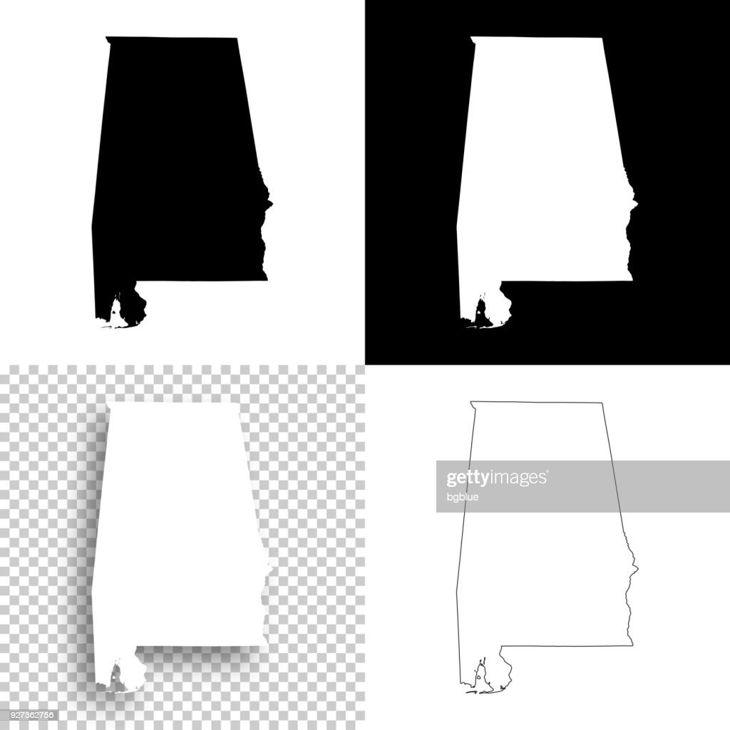 Alabama maps for design - Blank, white and black backgrounds : stock illustration