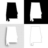 Alabama maps for design - Blank, white and black backgrounds