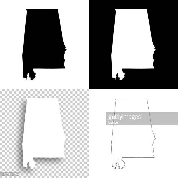 alabama maps for design - blank, white and black backgrounds - alabama stock illustrations, clip art, cartoons, & icons