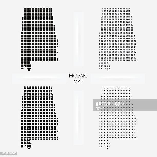 alabama maps - mosaic squarred and dotted - birmingham alabama stock illustrations, clip art, cartoons, & icons