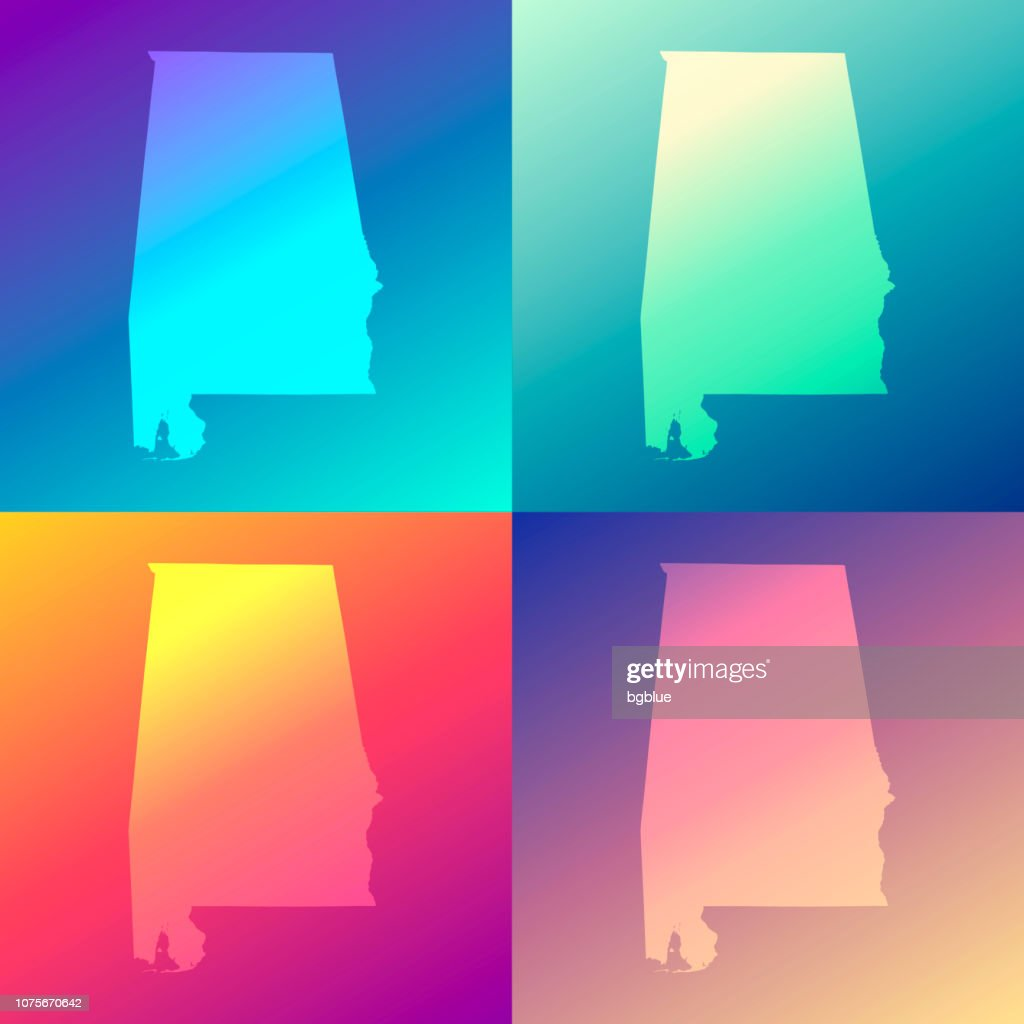Alabama maps with colorful gradients - Trendy background