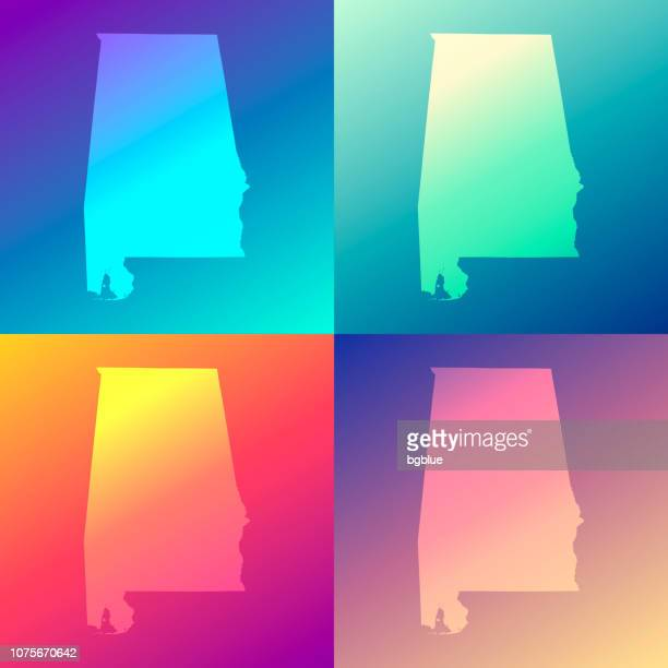 alabama maps with colorful gradients - trendy background - alabama stock illustrations, clip art, cartoons, & icons