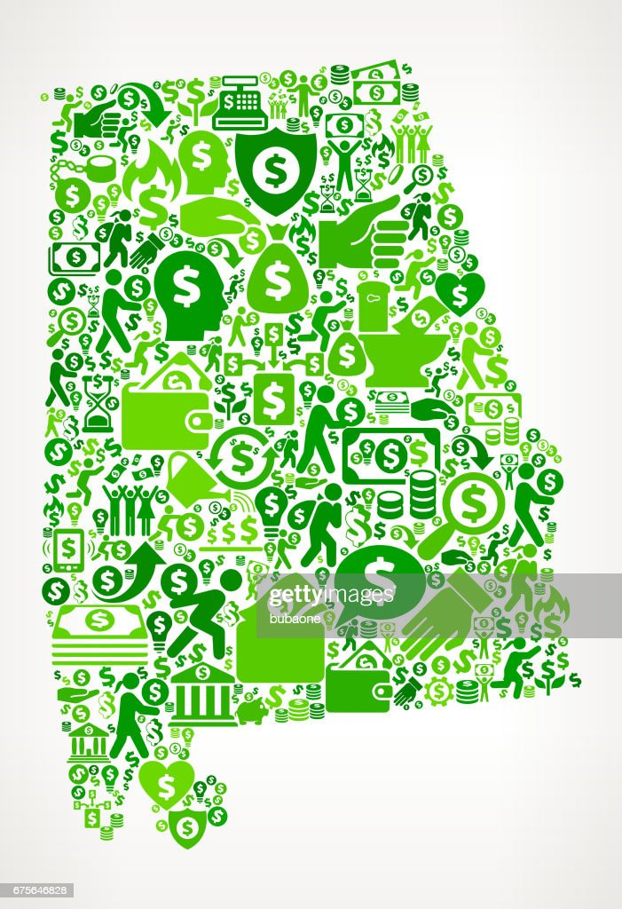 Alabama Money and Finance Green Vector Icon Background