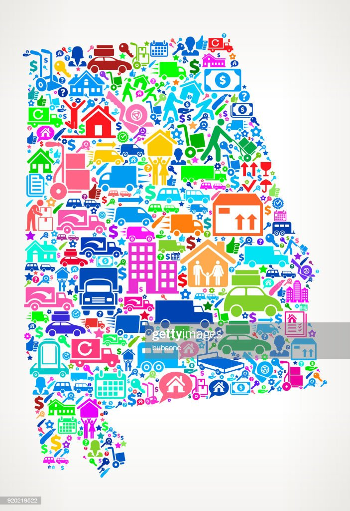 Alabama Moving and Relocation Vector Icon Pattern