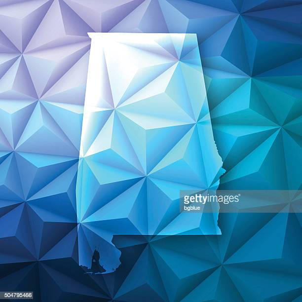 alabama on abstract polygonal background - low poly, geometric - birmingham alabama stock illustrations, clip art, cartoons, & icons