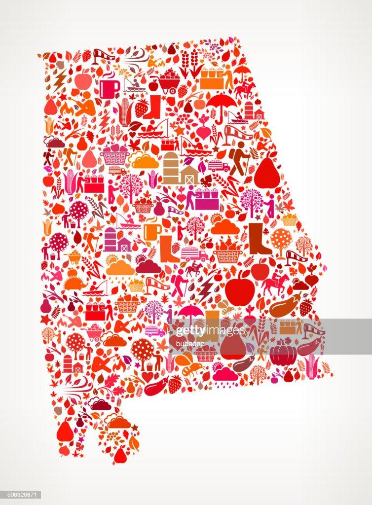 Alabama on Autumn Seasonal royalty free vector art Pattern