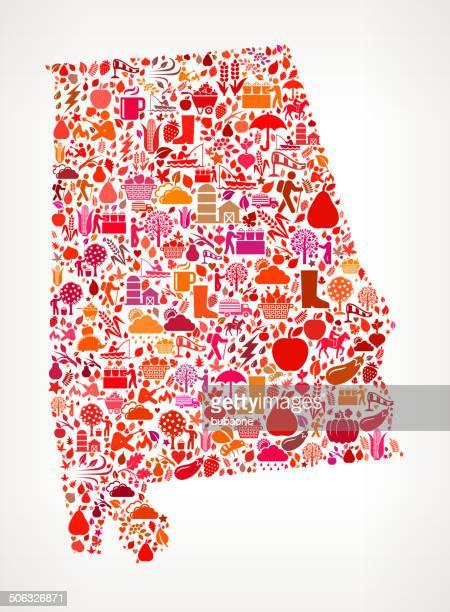 alabama on autumn seasonal royalty free vector art pattern - alabama us state stock illustrations, clip art, cartoons, & icons