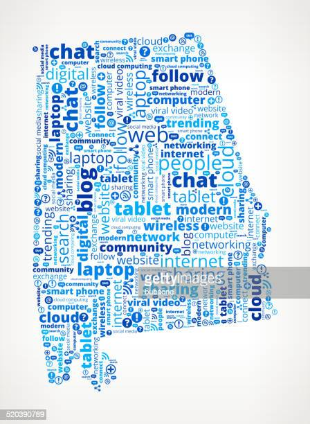 alabama on modern communication and technology word cloud - alabama us state stock illustrations, clip art, cartoons, & icons