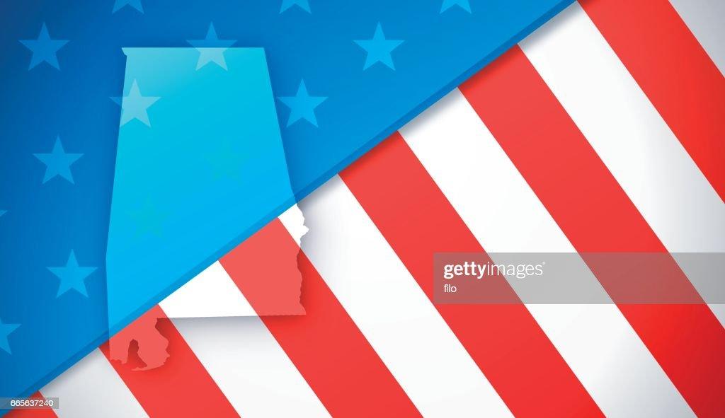 Alabama Patriotic Flag Background : stock illustration