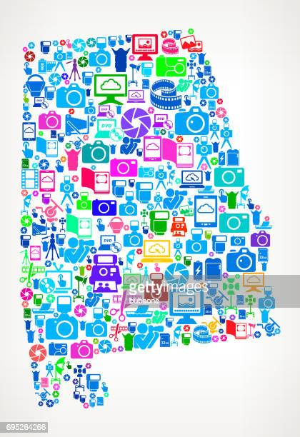 alabama photography and camera vector icons background - mobile alabama stock illustrations, clip art, cartoons, & icons
