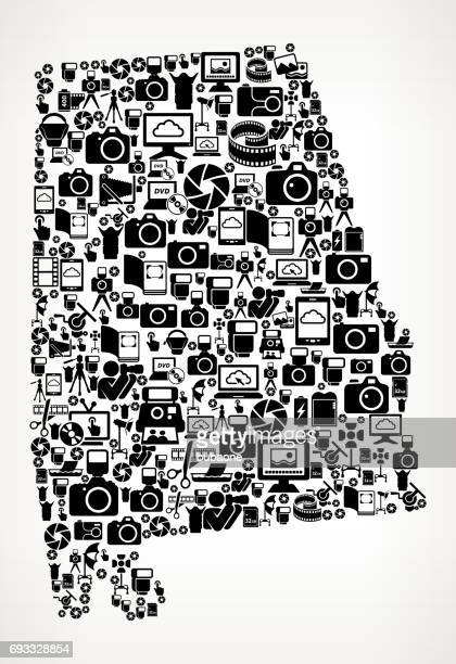 alabama photography black and white vector icons background - mobile alabama stock illustrations, clip art, cartoons, & icons