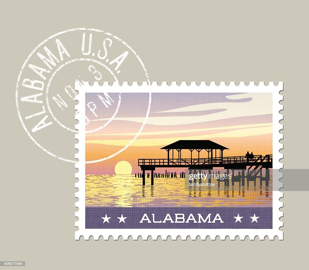 Alabama postage stamp featuring gulf coast with fishing pier.