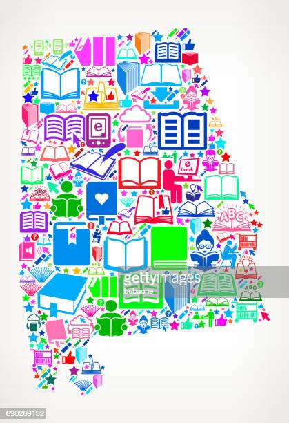 alabama reading books and education vector icons background - mobile alabama stock illustrations, clip art, cartoons, & icons