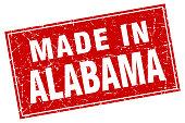 Alabama red square grunge made in stamp