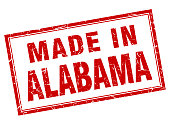 Alabama red square grunge made in stamp