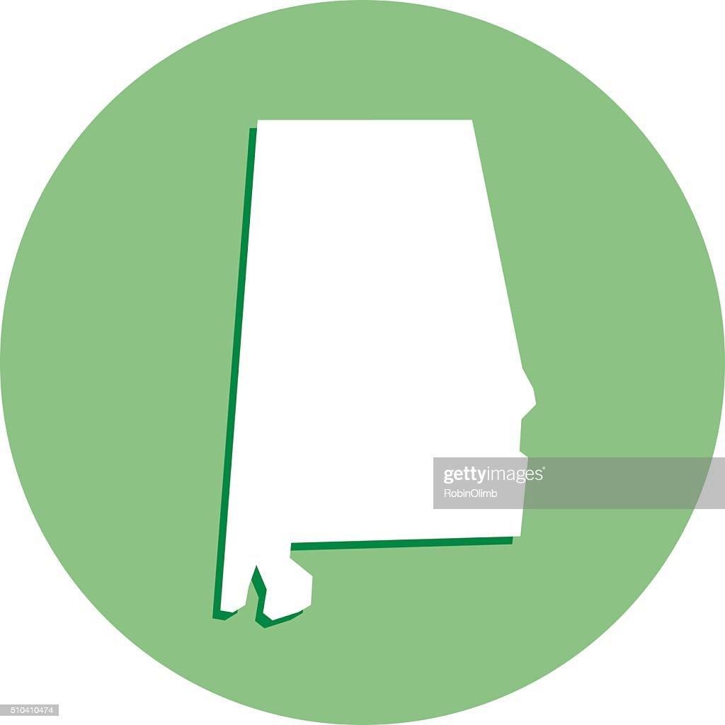 Alabama Round Map Icon : stock illustration