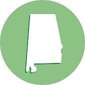 Alabama Round Map Icon