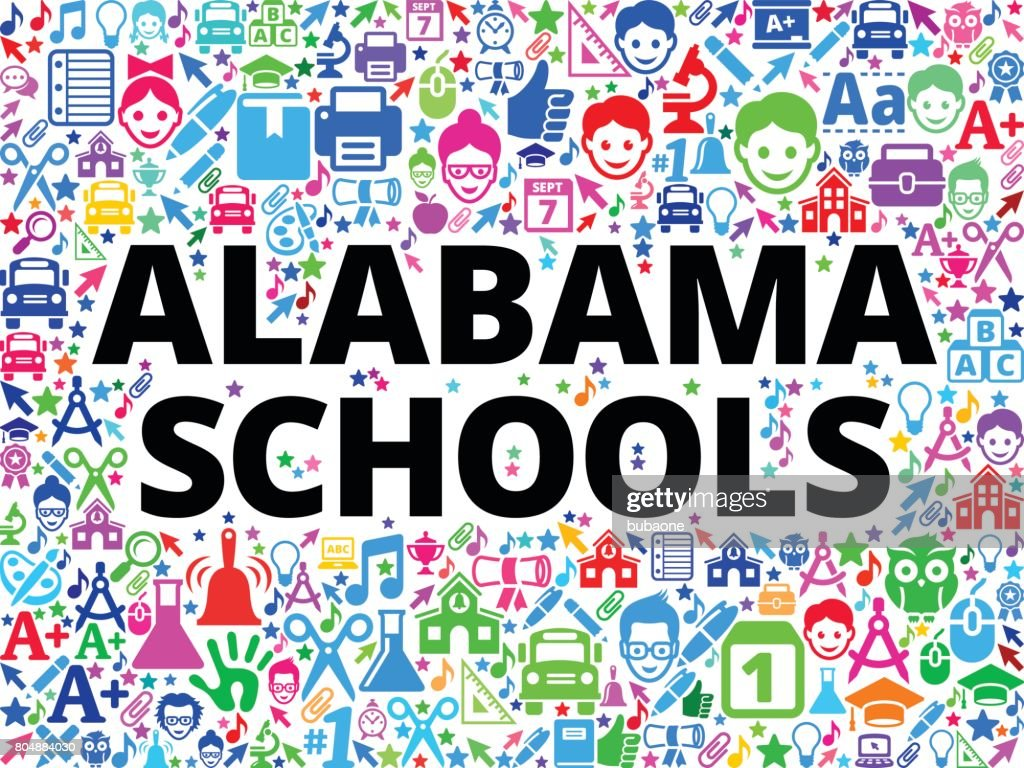 Alabama Schools School and Education Vector Icon Background