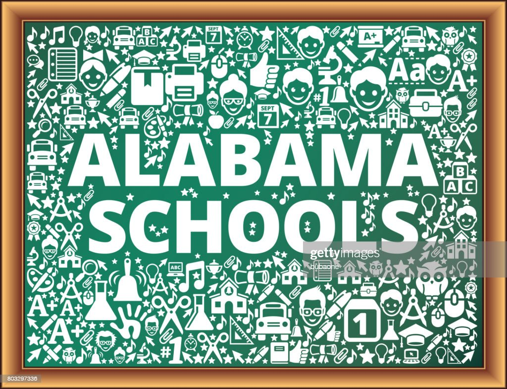 Alabama Schools School and Education Vector Icons on Chalkboard