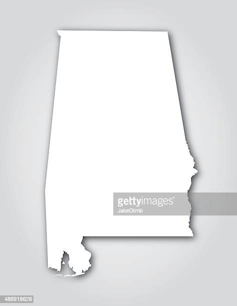 alabama silhouette white - alabama stock illustrations, clip art, cartoons, & icons