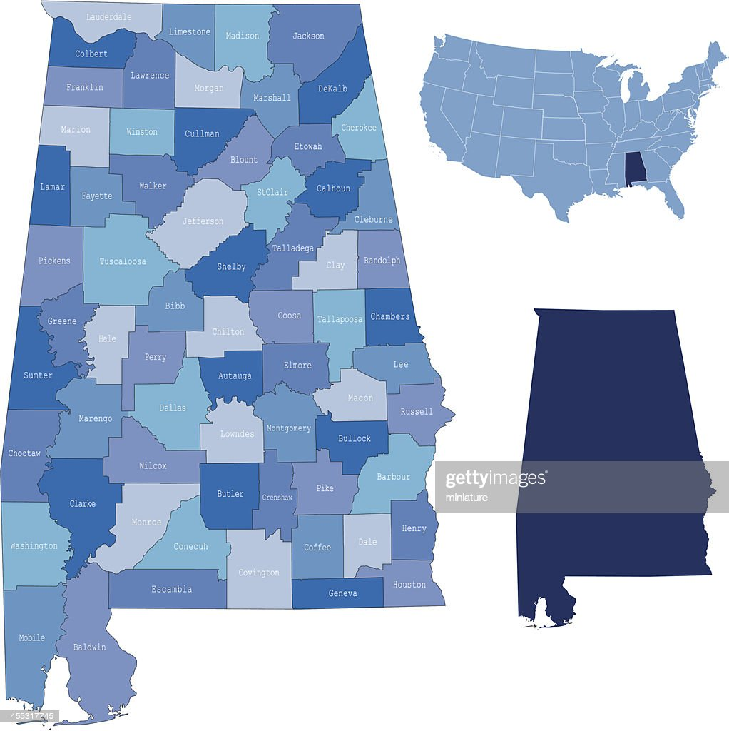 Alabama state & counties map