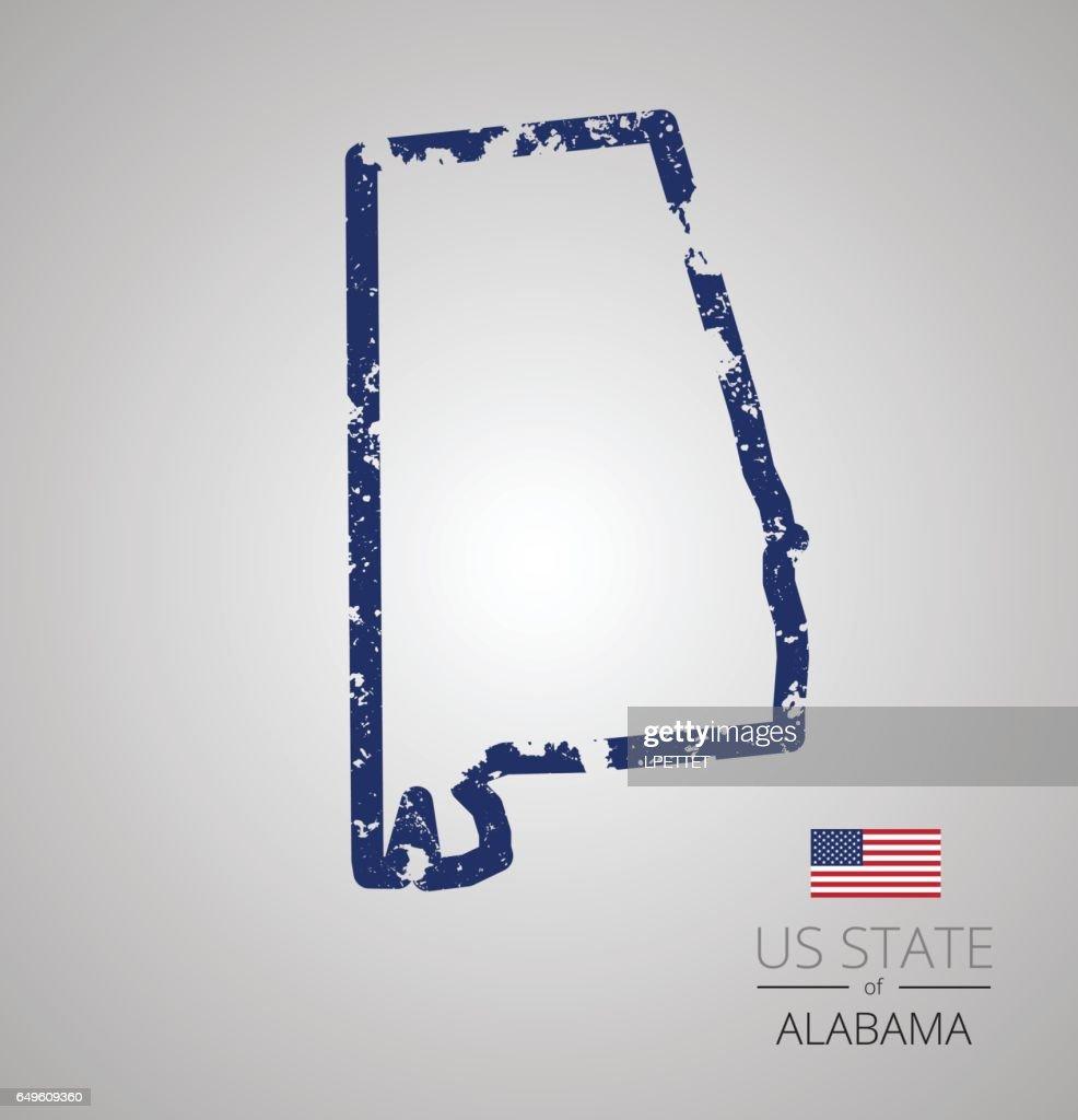 Alabama State Grunge Outline : stock illustration