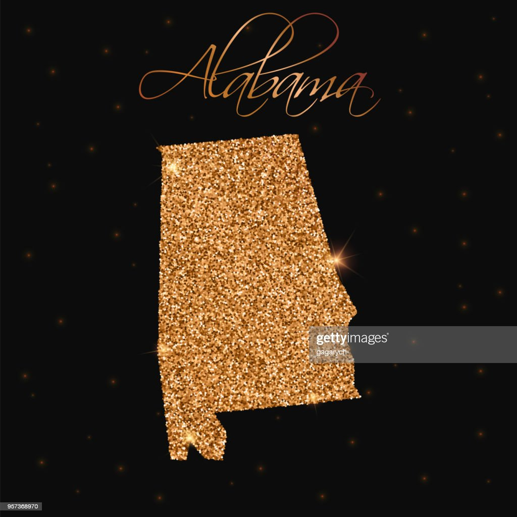 Alabama state map filled with golden glitter.