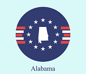 Alabama state of USA map vector outline on abstract background of American flag icon illustration. Conceptual graphic design of map of Alabama state of United States of America
