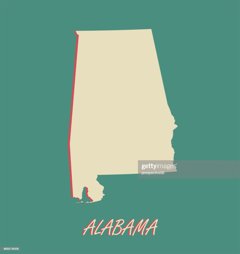 Alabama state of USA map vector outlines in a 3D illustration background
