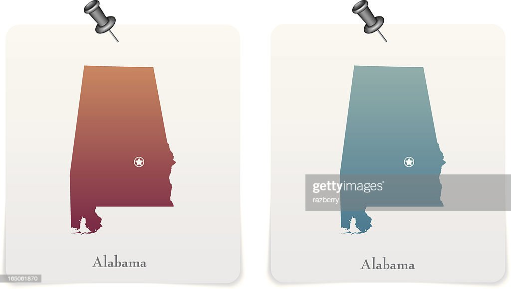Alabama state red and blue cards