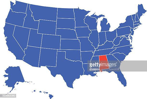 alabama state selected in usa - alabama stock illustrations, clip art, cartoons, & icons
