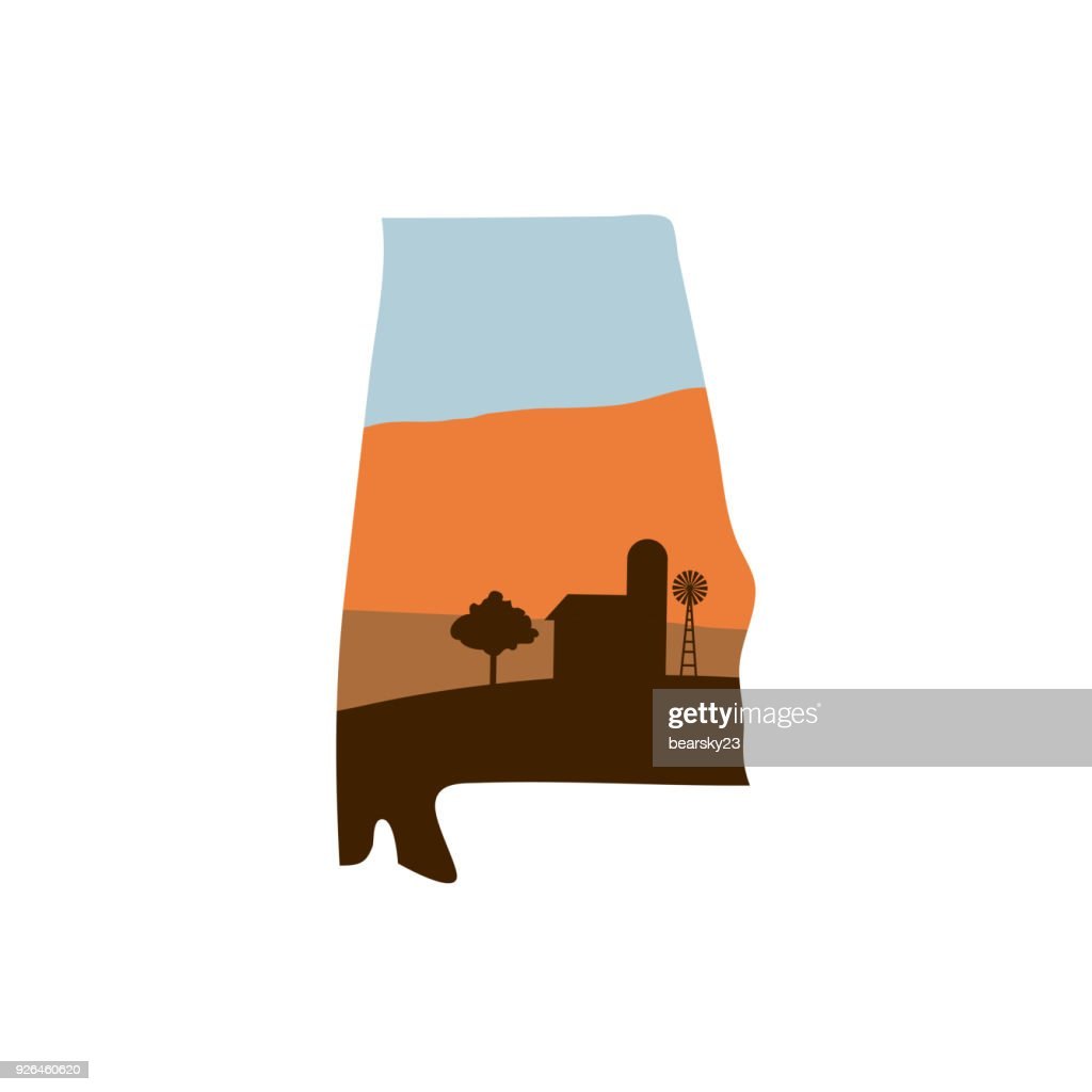 Alabama State Shape with Farm at Sunset w Windmill, Barn, and a Tree