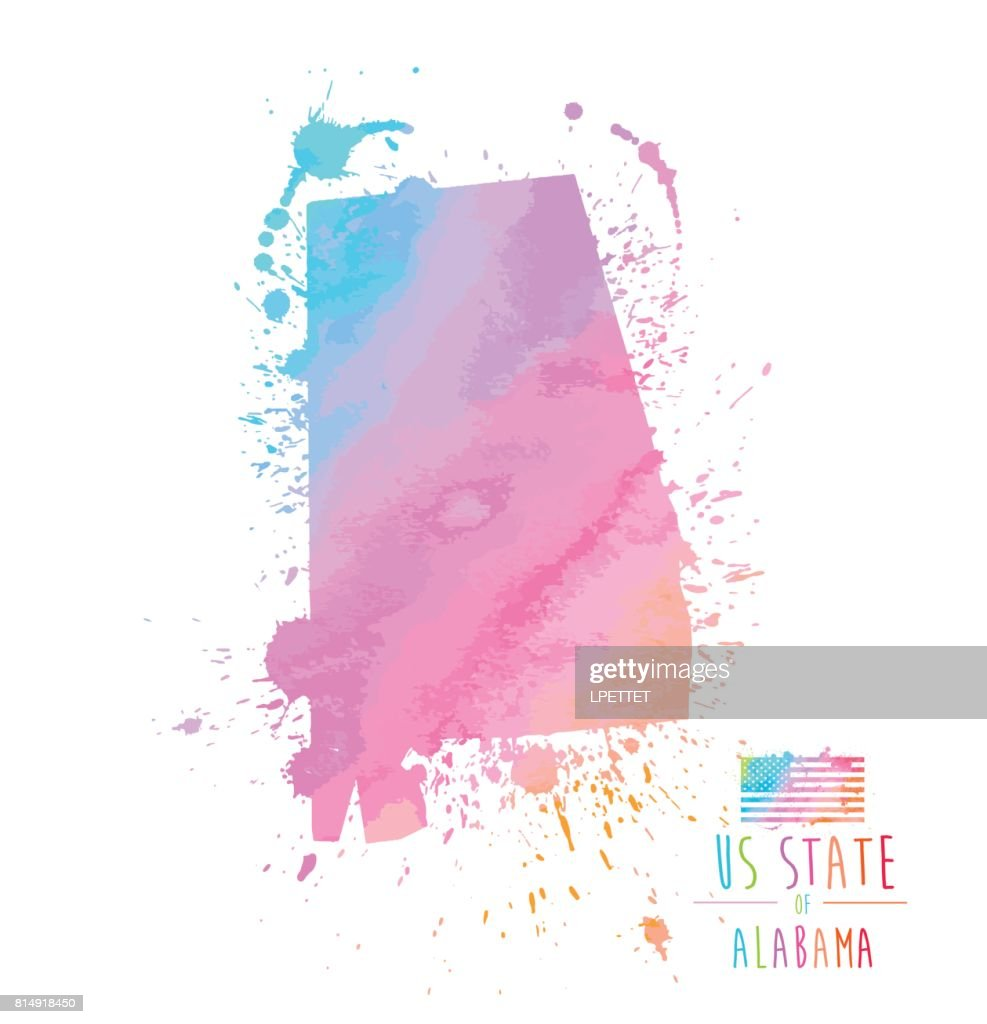 Alabama State Watercolor Splash