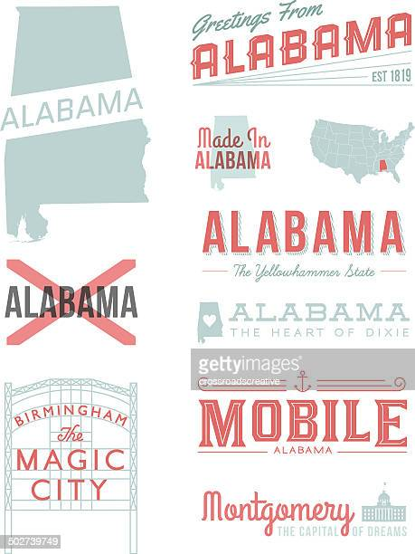 alabama typography - southern usa stock illustrations, clip art, cartoons, & icons
