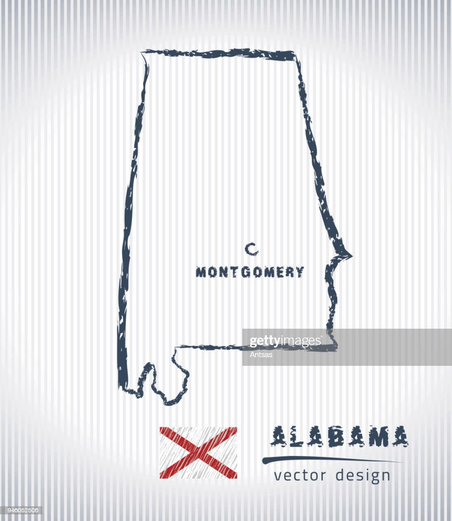 Alabama vector chalk drawing map isolated on a white background