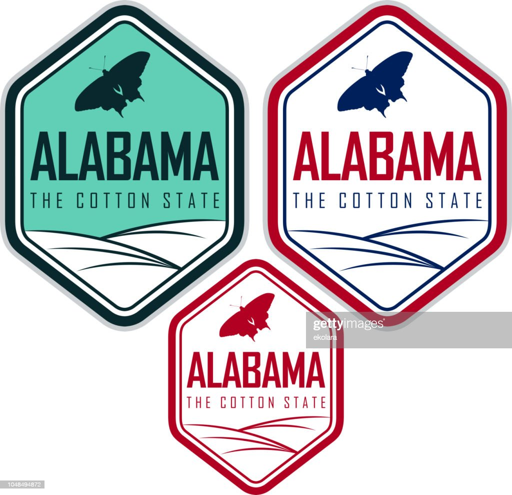 Alabama vector labels with eastern tiger swallowtail butterfly