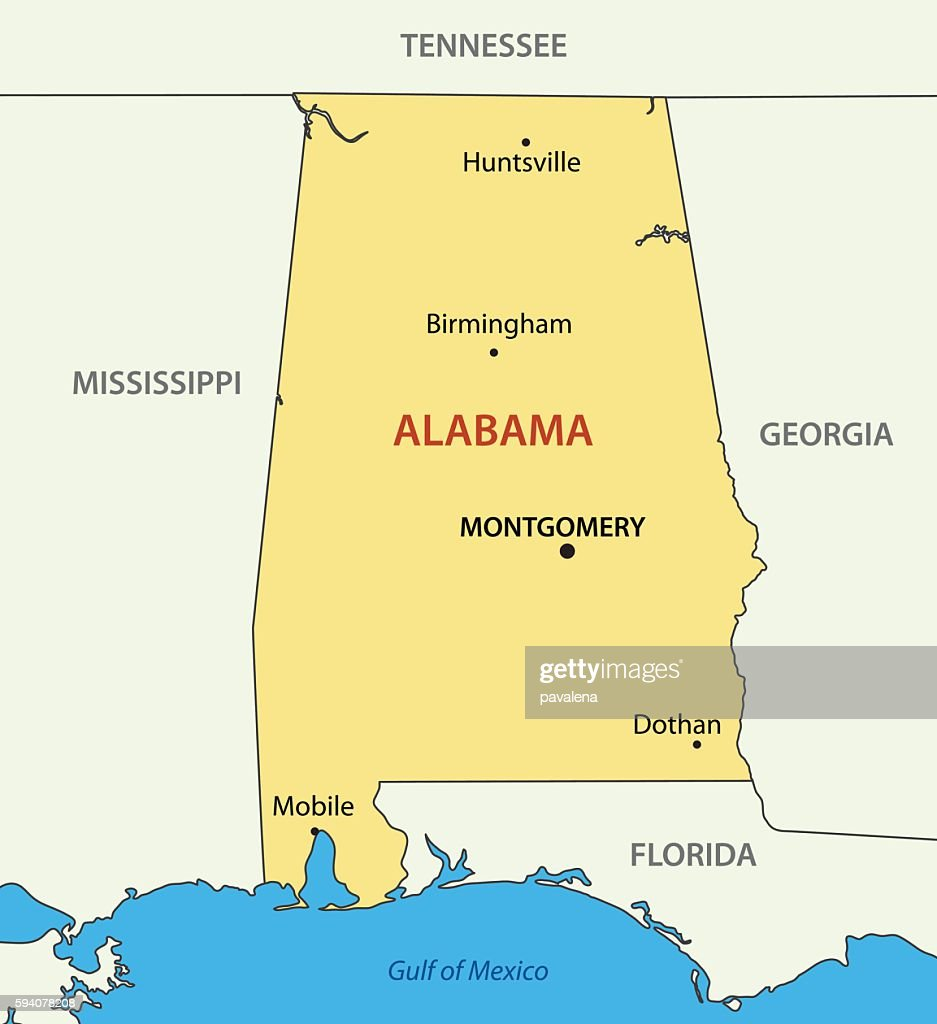 Alabama - vector map
