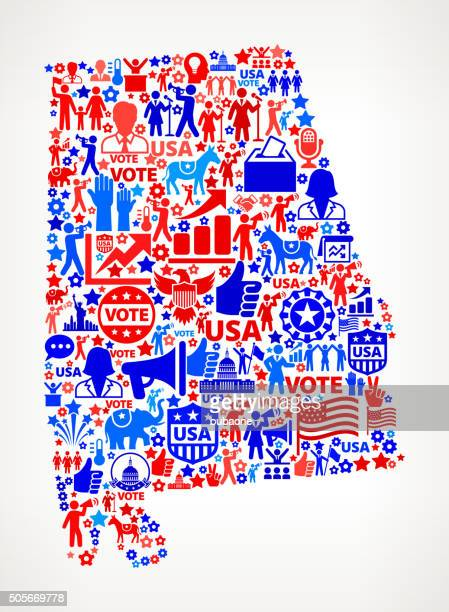alabama vote and elections usa patriotic icon pattern - alabama stock illustrations, clip art, cartoons, & icons