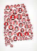 Alabama Women Faces Girl Power Pattern.