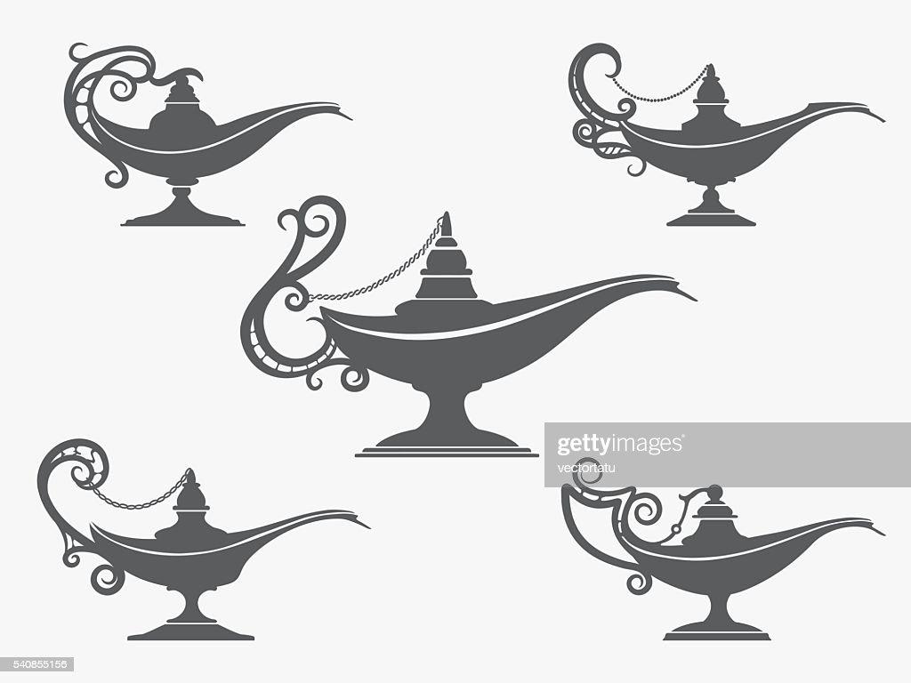Aladdin lamp icon set
