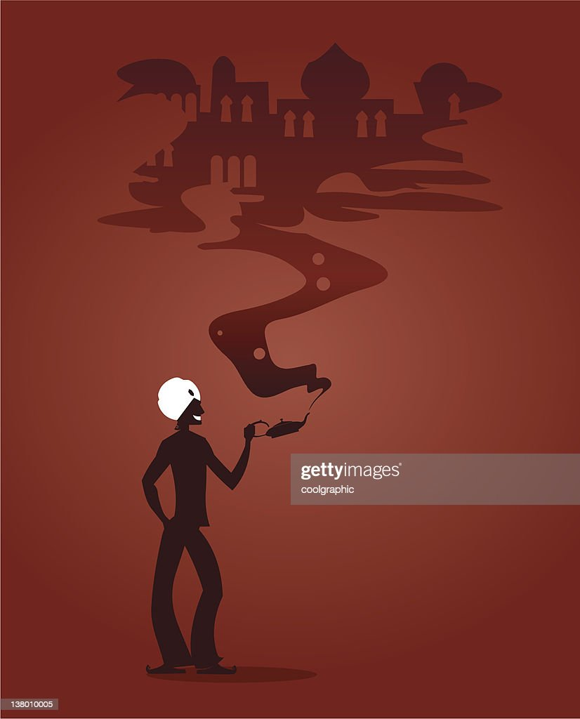 Aladdins Magic Lamp Silhouette Stock Illustration Getty Images