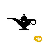 Aladin lamp silhouette. Simple black vector symbol.