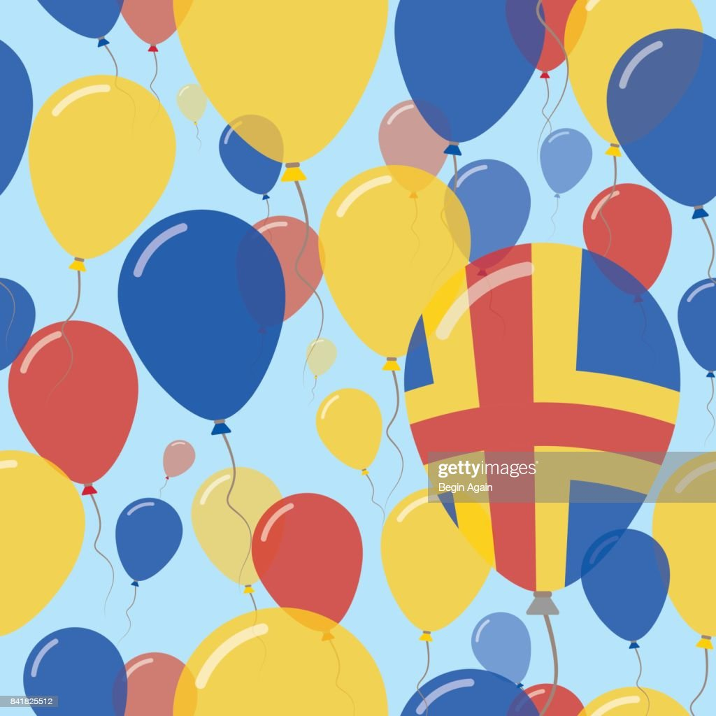 Aland Islands National Day Flat Seamless Pattern. Flying Celebration Balloons in Colors of Swedish Flag. Happy Independence Day Background with Flags and Balloons.