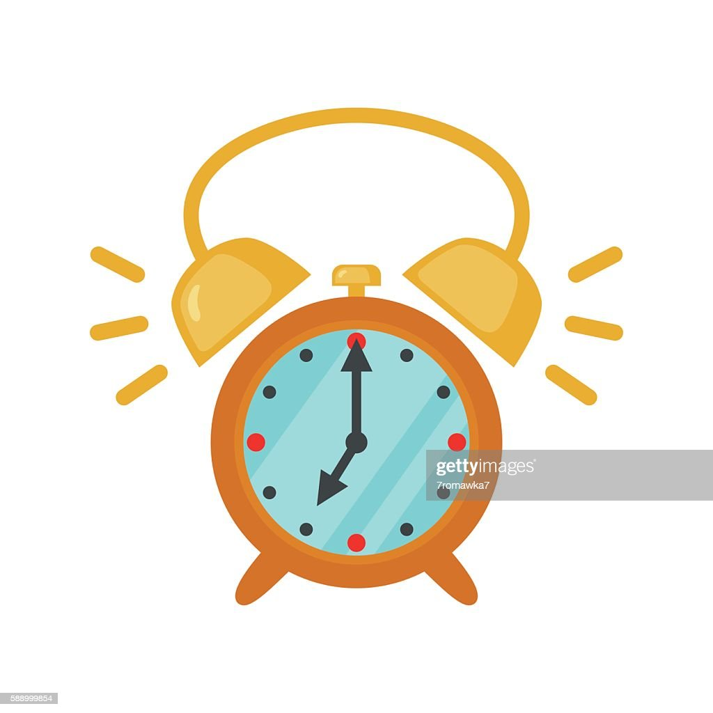 Alarm clock icon in flat style.