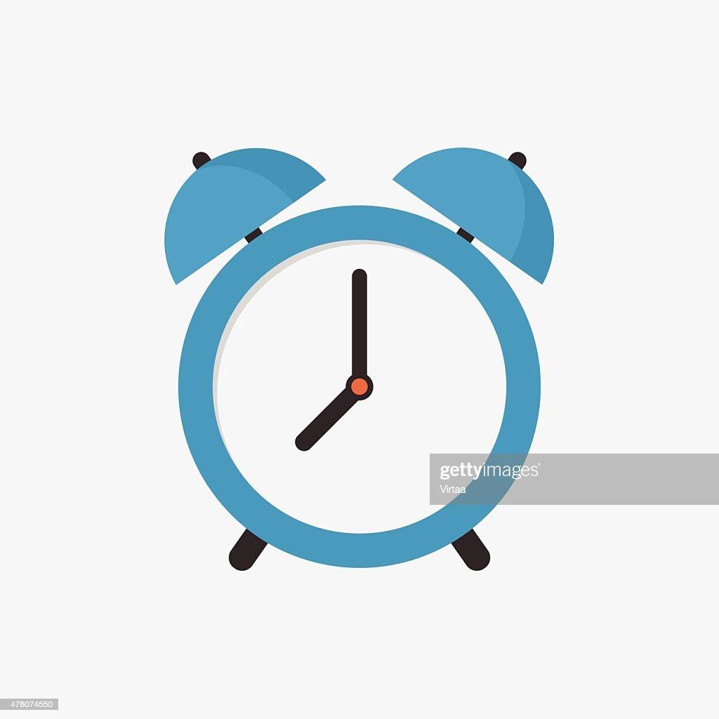 Alarm clock icon, modern minimal flat design style, vector illustration