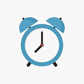 Alarm clock icon, modern minimal flat design style, vector illustration
