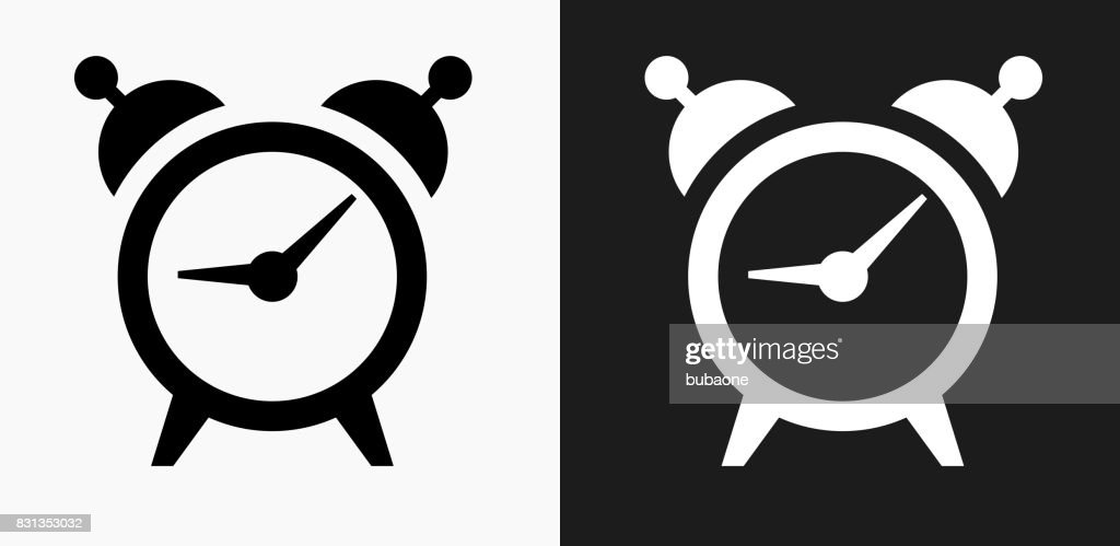 Alarm Clock Icon On Black And White Vector Backgrounds stock