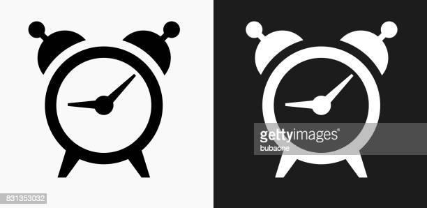 wecker-symbol auf schwarz-weiß-vektor-hintergründe - clipart stock-grafiken, -clipart, -cartoons und -symbole