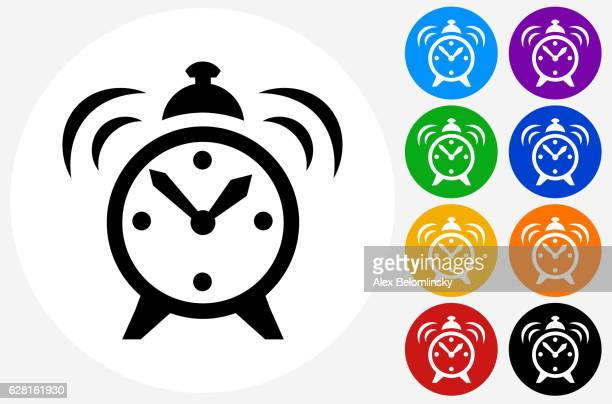 Alarm Clock Icon on Flat Color Circle Buttons